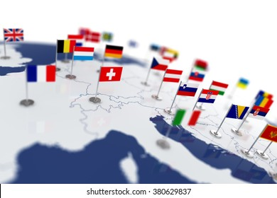 Europe map with countries flags. Shalow focus 3d illustration isolated on white background