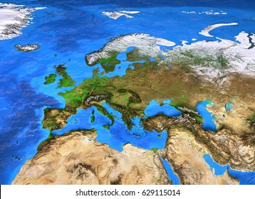 Europe map. Detailed satellite view of the Earth and its landforms. Elements of this image furnished by NASA