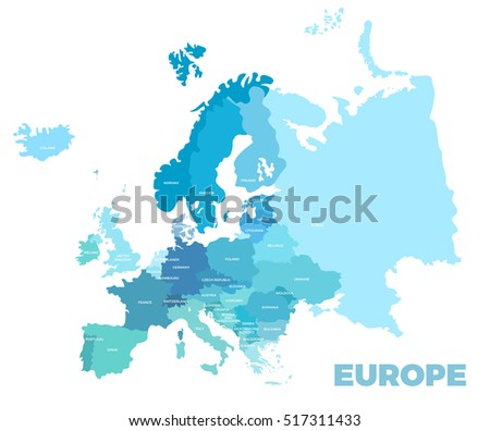 Europe Modern Detailed Map All European Stockillustration 517311433 ...