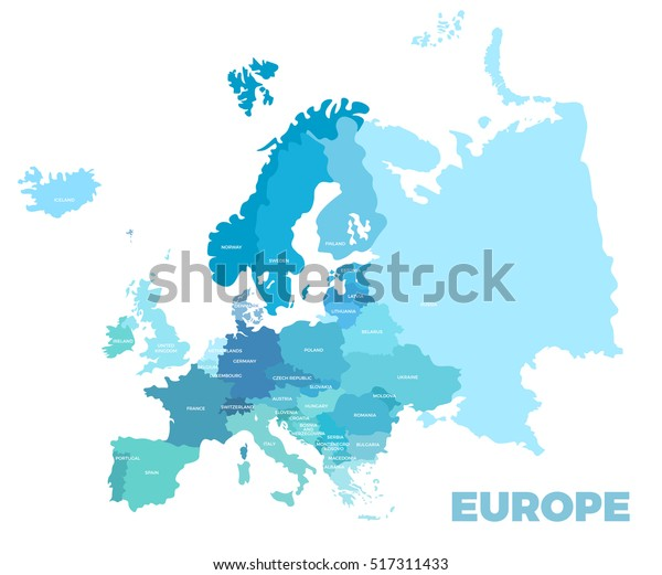 Europe Modern Detailed Map All European Stockillustration ...