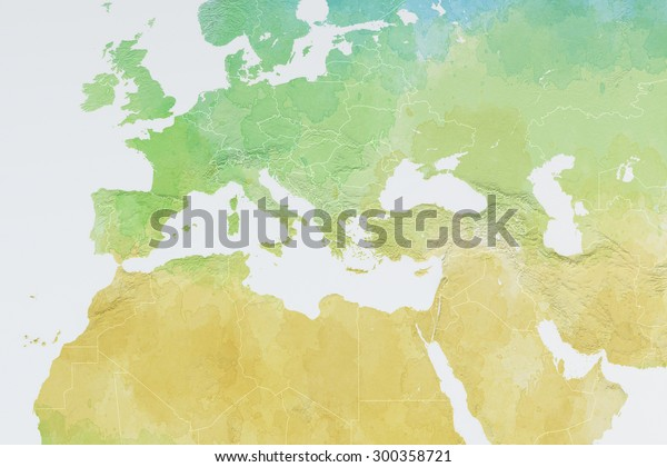 Europe North Africa Middle East Map Stock Illustration 300358721