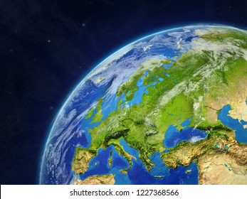 Europe on model of planet Earth with very detailed planet surface and clouds. 3D illustration. Elements of this image furnished by NASA.