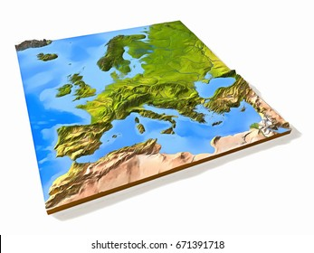 Europe, painted 3D relief map illustration with natural colors.
