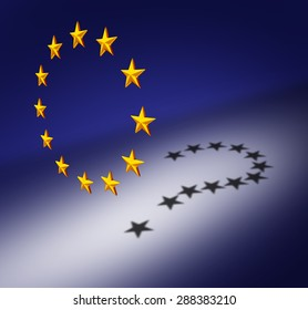 Europe questions or Eurozone crisis concept as a group of three dimensional stars with a cast shadow of a question mark as a symbol for euro decision uncertainty on financial debt and social issues.