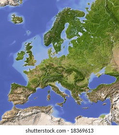 Europe. Shaded relief map with  major urban areas. Colored according to vegetation.  Data source: NASA