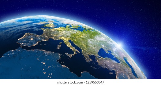 Europe from space city lights. Elements of this image furnished by NASA. 3d rendering