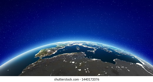 Europe from space. Elements of this image furnished by NASA. 3d rendering