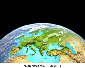 Europe from space. Extremely high detail of planet surface. 3D illustration. Elements of this image furnished by NASA.