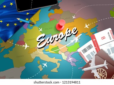 Europe travel concept map background with planes, tickets. Visit Europe travel and tourism destination concept. Europe flag on map. Planes and flights to European holidays to London,Berlin