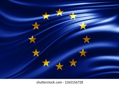 Europe union flag of silk -3D illustration