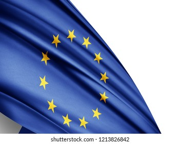 Europe union  flag of silk with copyspace for your text or images and white background-3D illustration