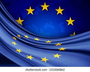 Europe union  flag of silk with copyspace for your text or images and european union flag background-3D illustration