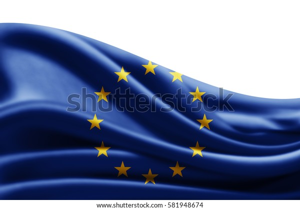 Europe union flag of silk with copyspace for your text or images and white background -3D illustration