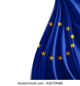 Europe union flag of silk and white background-3D illustration