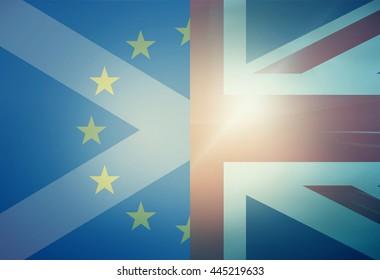 Europe United Kingdom Scotland Flags Background