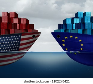 Europe United States trade and American tariffs as two opposing cargo ships as an economic  taxation dispute over import and exports concept as a 3D illustration.