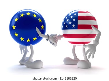 Europe and  USA handshake,3D illustration