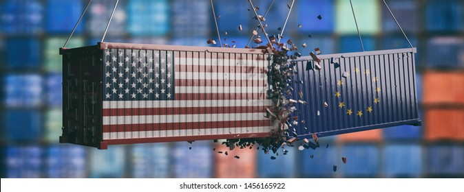 Europe vs USA trade war. EU and US of America flags on crushed containers, blur harbor containers background, banner. 3d illustration