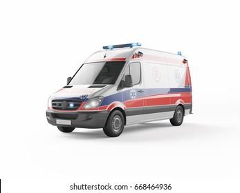 European ambulance emergency on white background 3D model