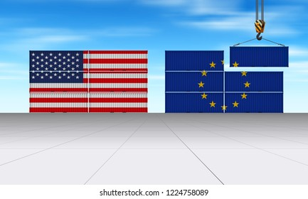 European and American trading as 3D Illustration