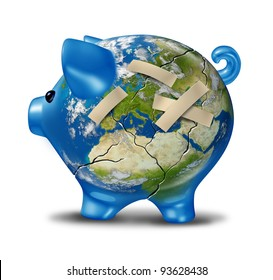 European banking and economy crisis as a cracked earth map piggy bank with bandages to repair a broken bank globe of Europe as financial austerity measures of Greece Italy Spain Portugal France.