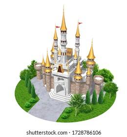 金色の屋根を持つヨーロッパの城、3Dアートワーク