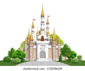 European castle with golden roof, 3D artwork
