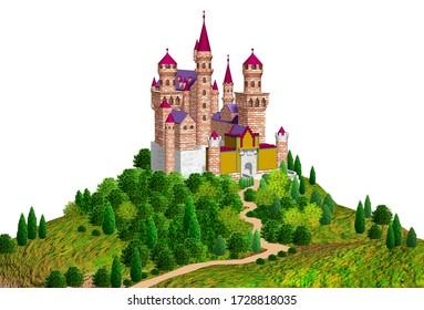 European castle on a hill, 3D illustration