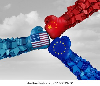 European, China and American trade fight and tariff war as a Chinese Europe USA economic problem as cargo containers in conflict as an economic dispute over import and exports with 3D elements.