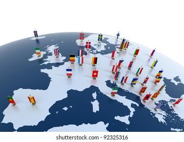 pays européens Illustration 3d - continent européen marqué de drapeaux