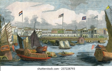 The European 'factories' at Guangzhou (Canton) China ca 1840, Engraving based on a drawing made during the First Opium War by John Ouchterlony.
