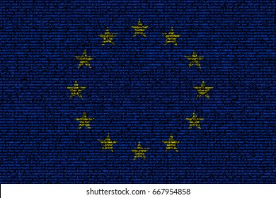 European flag composed of dense computer code cybersecurity programming concept