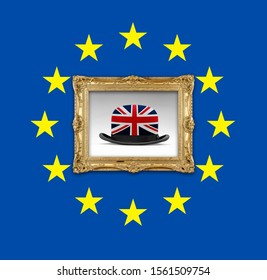 European flag and a golden vintage frame with surrealist UK Flagged bowler. Brexit concept