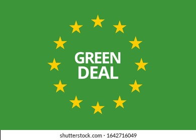 "European flag in green with ""green deal"" written in the center. The european green deal will be the socioeconomic foundation for the further development of the european union in the 21st century."