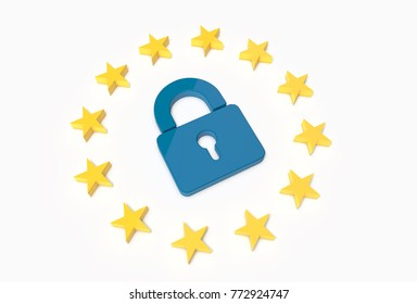 European Flag Stars With A Lock in the middle. European Union Data Regulation Law Concept. 3D Illustration.