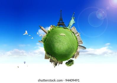 European holidays - travelling background. concept illustration