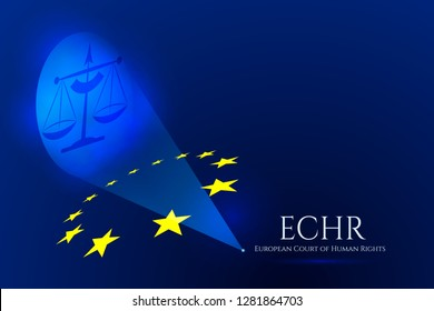 European justice symbolic concept. Scales of justice are covered through the principles of the European Union. Jurisdiction of European Court of Human Rights.