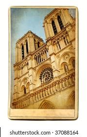 european landmarks- vintage cards - Notre dame