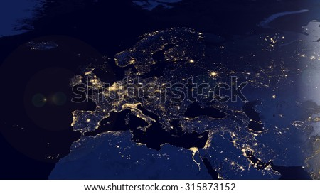 European Map Space View (Elements of this image furnished by NASA)