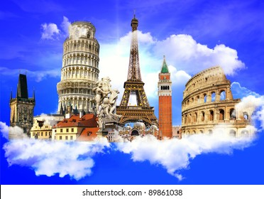 european traveling - touristic background