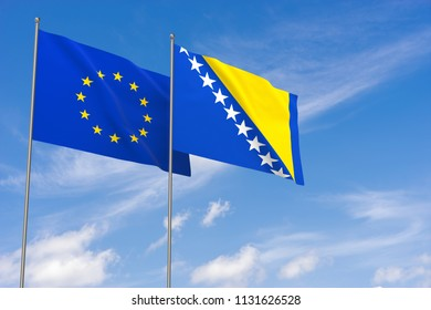 European Union and Bosnia and Herzegovina flags over blue sky background. 3D illustration