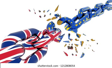european union chain broken shuttered brexit  grexit - 3d rendering