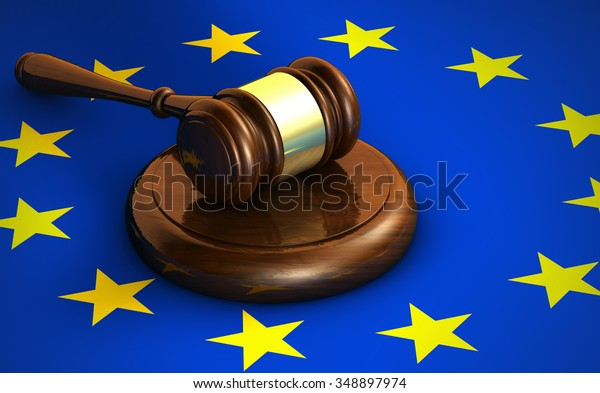 European Union Community laws, legal system and parliament concept with a 3d render of a gavel and the EU flag on background.