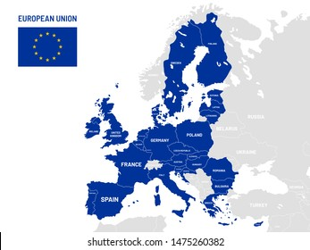 European Union countries map. EU member country names, europe land location maps. Political member country land, nationalism geography globe cartography map illustration