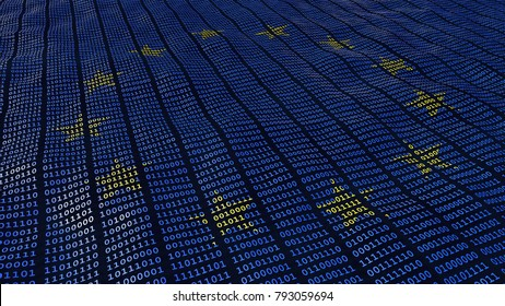 European Union Data Protection bits and bytes in waving pattern with EU stars. 3D illustration