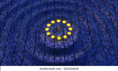 European Union Data Protection (GDPR) bits and bytes in ripple waving pattern with glowing EU stars. 3D illustration