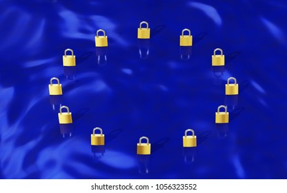 European Union Data Protection Gold padlocks forming a EU flag (GDPR). 3D illustration