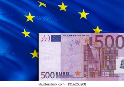 European Union Euro economy for business and financial concept ideas illustration, background. Concept with money European Union EU Euro,3d rendering. Crisis and European Union Euro course concept