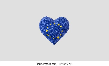 European Union. Europe Day. May 9. Heart shape made out of shiny sphere on white background. 3D rendering.