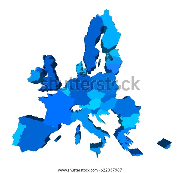 European Union Extruded 3d Map Perspective Stock